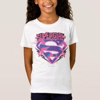 Camiseta Logotipo rosado y púrpura de Supergirl del Grunge