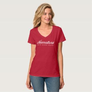Camiseta Los narradores dan buena tela aural del cuello en