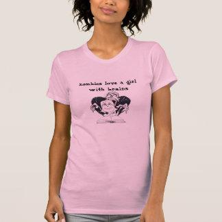 Camiseta los zombis aman a un chica con los cerebros