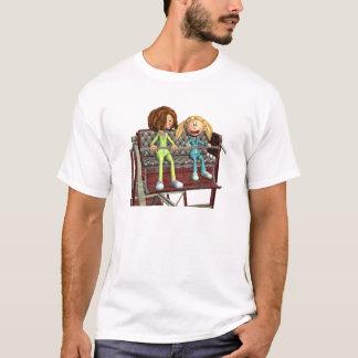 Camiseta Madre e hija del dibujo animado en una noria