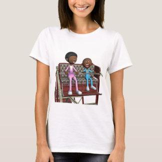 Camiseta Madre e hijo del dibujo animado en una noria