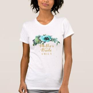 Camiseta Madre verde azulada del Swag del Peony del nombre