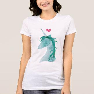 Camiseta Magia azul del unicornio con el corazón