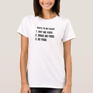 Camiseta Maneras a mi corazón. 1. tráigame que la comida