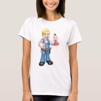 Camiseta Manitas del fontanero que sostiene el émbolo