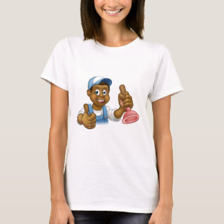 Camiseta Manitas negra del fontanero del dibujo animado que