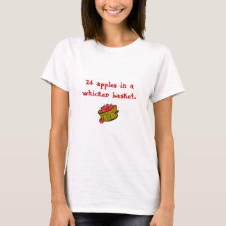 Camiseta manzanas, 24 manzanas en una cesta del whicker…