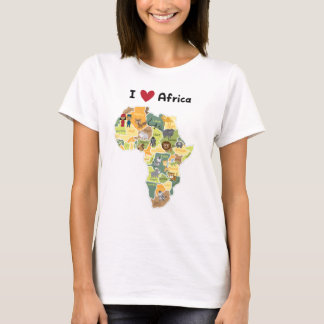 Camiseta Mapa africano del safari - corazón África de I -