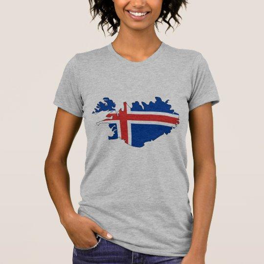 Camiseta Mapa de la bandera de Islandia