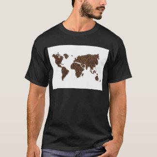 Camiseta Mapa del mundo llenado de los granos de café