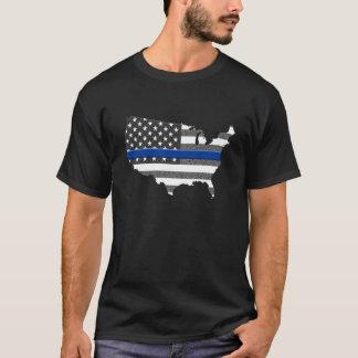 Camiseta Mapa fino de Blue Line los E.E.U.U.