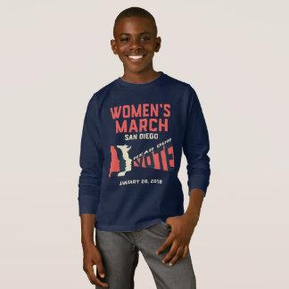 Camiseta Marzo San Diego de las mujeres embroma la manga