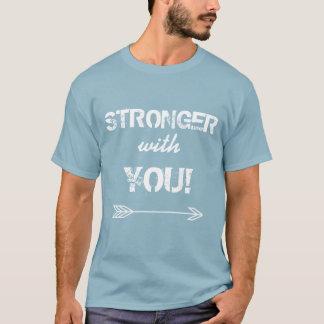 Camiseta MÁS FUERTE con usted azul lavado a la piedra novio