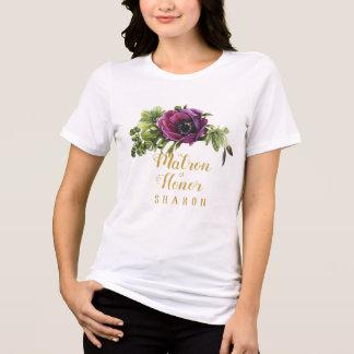 Camiseta Matrona púrpura del Swag del Peony del nombre