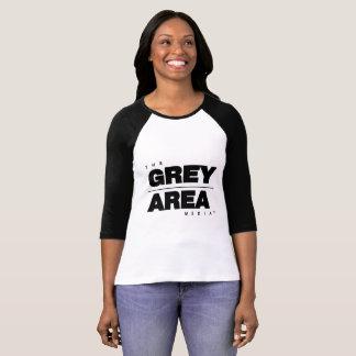 Camiseta Mediados de manga negra blanca del área gris para