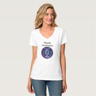 Camiseta Meditated pesadamente con la flor de la vida y del