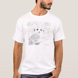 Camiseta meerkat del bosquejo del lápiz