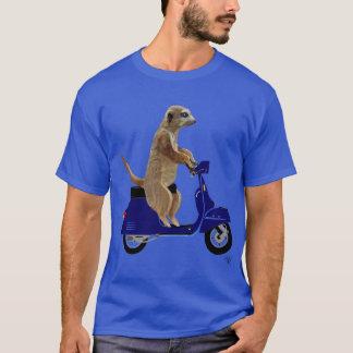 Camiseta Meerkat en el ciclomotor azul marino