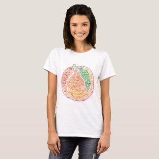 Camiseta Melocotón ilustrado con las ciudades del estado
