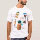 Camiseta Menú retro de los cócteles de Tiki del kitsch del