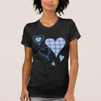 Camiseta menuda del remiendo de las señoras azules