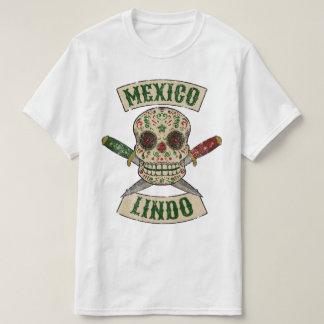 Camiseta México Lindo. Cráneo mexicano con las dagas