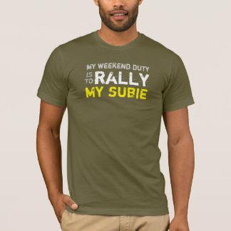 Camiseta mi reunión del deber del fin de semana mi subie