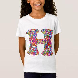 Camiseta Monograma llenado corazón dinámico colorido de la
