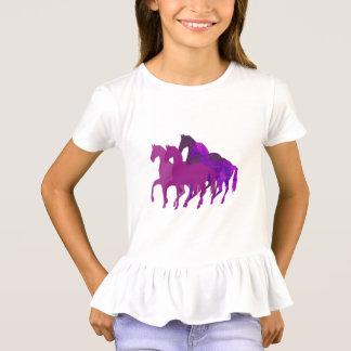 Camiseta Montar a caballo de la fantasía púrpura de la