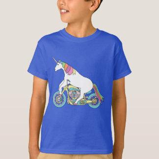 Camiseta Motocicleta del montar a caballo del unicornio