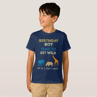 Camiseta Muchacho de la fiesta de cumpleaños del safari del