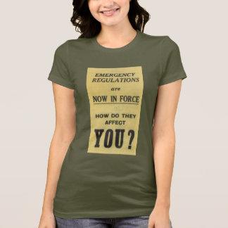 Camiseta Muestra del vintage: Regulaciones de emergencia