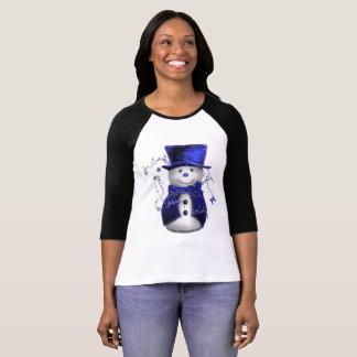Camiseta Muñeco de nieve azul lindo