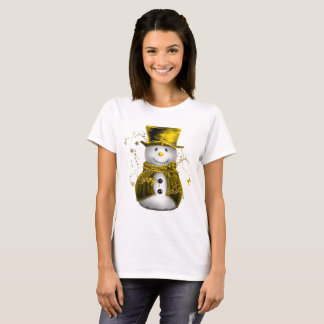 Camiseta Muñeco de nieve lindo del oro