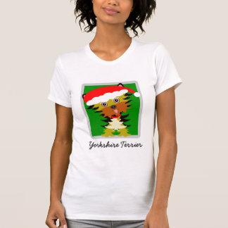 Camiseta Navidad adorable del dibujo animado de Yorkshire