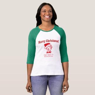 Camiseta Navidad del perro de caza que bendice
