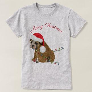 Camiseta Navidad inglés del perrito del dogo