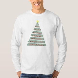 Camiseta Navidad multilingüe que saluda el árbol de navidad