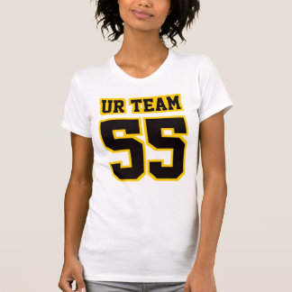 Camiseta NEGRA BLANCA lateral de American Apparel