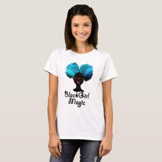 Camiseta negra de la magia del chica