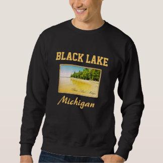 Camiseta negra de la postal del lago Michigan