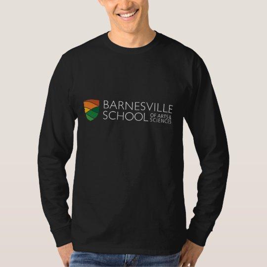 Camiseta negra de largo envuelta del logotipo del