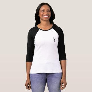 Camiseta negra de las mangas de CDA 3/4 con el