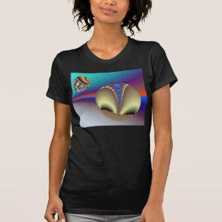Camiseta negra de las señoras del fractal de Astro