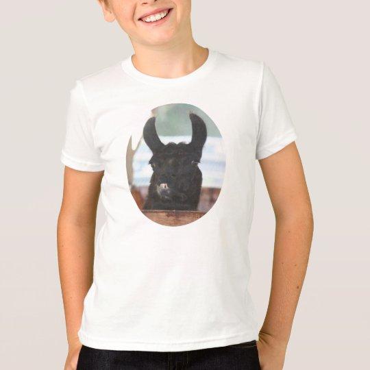 Camiseta negra del animal del campo de la cara de