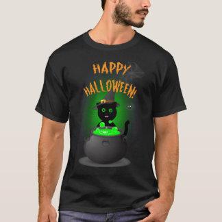 Camiseta negra del feliz Halloween con el gato