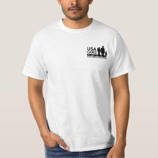 Camiseta negra del logotipo de los cuidados de los