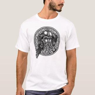 Camiseta negra y blanca del escudo de la runa de