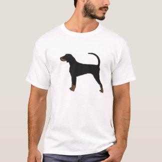 Camiseta negra y del moreno del Coonhound