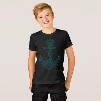 Camiseta Negro azul de Ombre del arte del ancla del mar